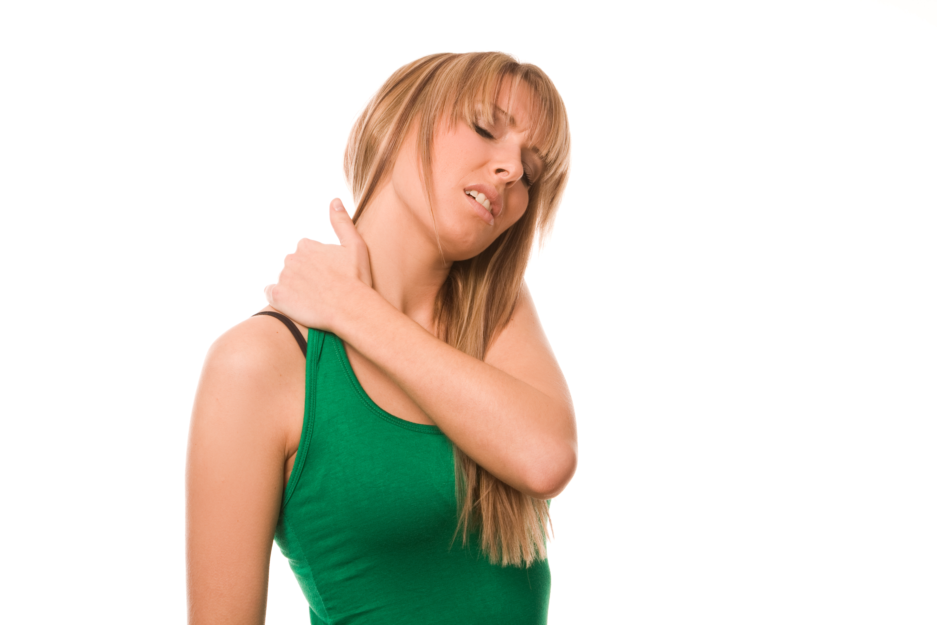 Woman with muscle spasms
